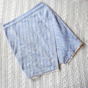 LOFT Asymmetrical Tribal Frayed Blue Skirt